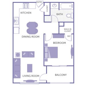 1 bed 1 bath floor plan, kitchen, dining room, living room, balcony, 2 closets