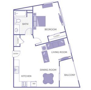 1 bed 1 bath floor plan, kitchen, dining room, living room, balcony, 2 closets