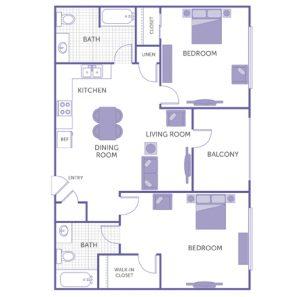 2 bed 2 bath floor plan, kitchen, dining room, living room, balcony, 1 linen closet, 2 closets