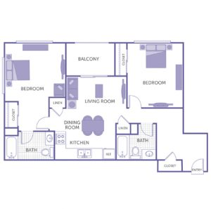 2 bed 2 bath floor plan, kitchen, dining room, living room, balcony, 2 linen closets, 3 closets