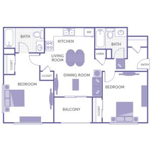 2 bed 2 bath floor plan, kitchen, dining room, living room, balcony, 1 linen closet, 3 closets