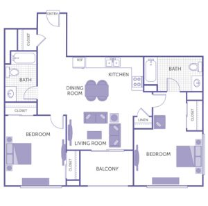 2 bed 2 bath floor plan, kitchen, dining room, living room, balcony, 1 linen closet, 4 closets
