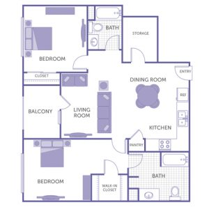2 bed 2 bath floor plan, kitchen, pantry, dining room, living room, balcony, 2 closets, storage room