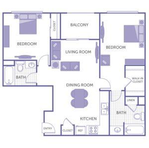 2 bed 2 bath floor plan, kitchen, dining room, living room, balcony, 1 linen closet, 3 closets