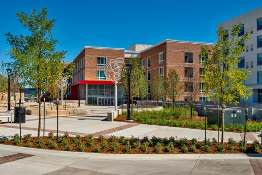 Exterior of Depot Square with landscaping and art sculpture